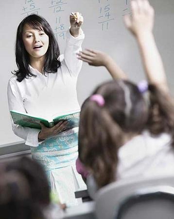 Female teacher teaching children