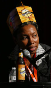 Celeste Beatty, Founder of the Harlem Brewing Company, talks about breaking into the craft beer industry, including how her company's trade-mark hats came into being, during the Entrecon seminar Friday at The Rex Theatre.