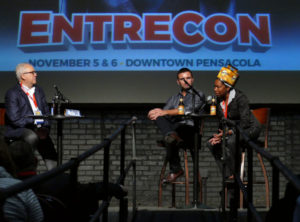 Rick Outzen interviews Scott Zepp and Celese Beatty on their branding experiences breaking into the beer business during Entrecon Friday at The Rex Theatre.
