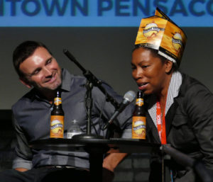 Scott Zepp, Co-founder and Director, World of Beer, listens carefully to Celeste Beatty, the Founder of the Harlem Brewing Company, about her experiences getting started in the craft beer industry.